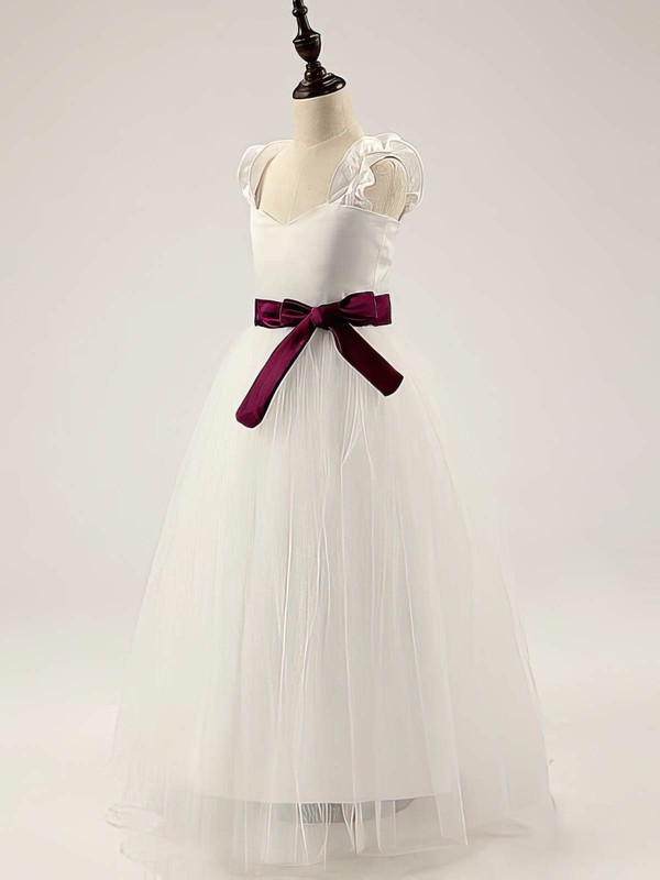 Ivory Satin Tulle Floor-length Straps Sashes/Ribbons Sweetheart Flower Girl Dress #DOB01031811