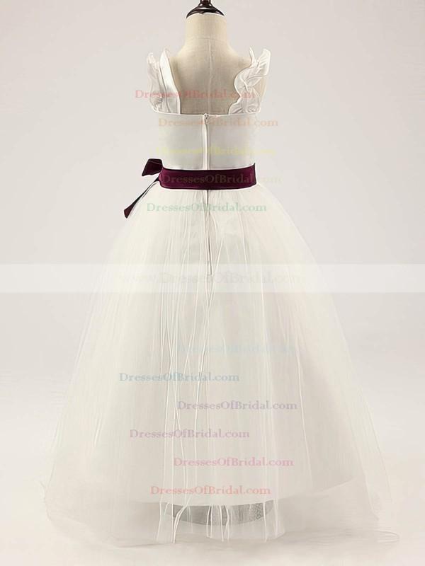 Ivory Satin Tulle Floor-length Straps Sashes/Ribbons Sweetheart Flower Girl Dress #DOB01031811