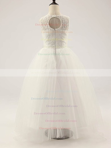 Nice Ivory Lace Tulle Ruffles A-line Scoop Neck Flower Girl Dress #DOB01031812