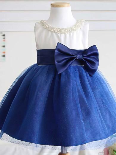 Pretty Scoop Neck Satin Tulle Pearl Detailing Tea-length Flower Girl Dress #DOB01031813