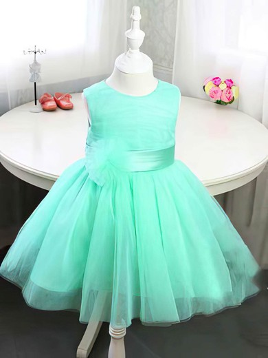 Simple Scoop Neck Satin Tulle Bow and Flower(s) Tea-length Flower Girl Dress #DOB01031814