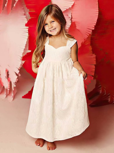 Custom Ivory Square Neckline Straps Ankle-length Lace Flower Girl Dress #DOB01031815