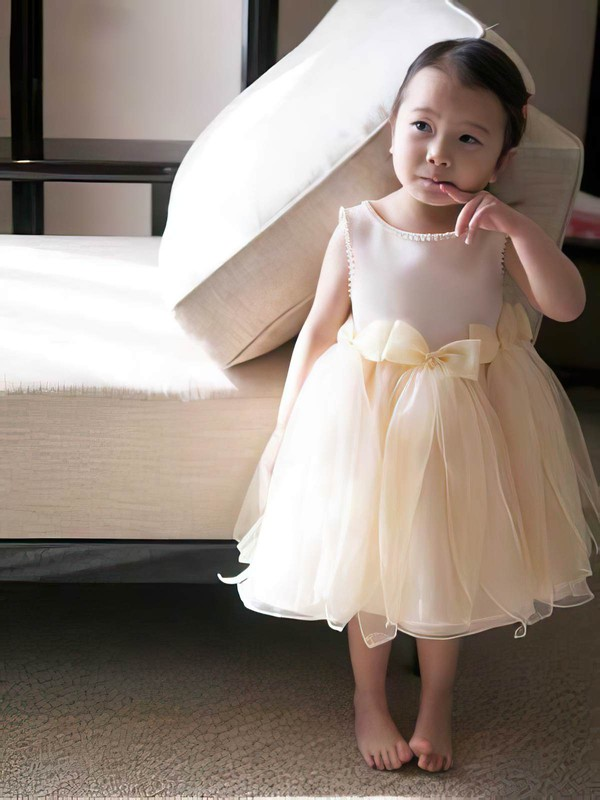 Tea-length Champagne Satin Organza Bow Scoop Neck Different Flower Girl Dress #DOB01031817
