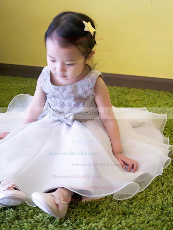 Hot A-line Silver Organza Appliques Lace Tea-length Flower Girl Dress #DOB01031818