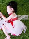 Nicest Square Neckline Multi Colours Satin Organza Flower(s) Tea-length Flower Girl Dress #DOB01031819