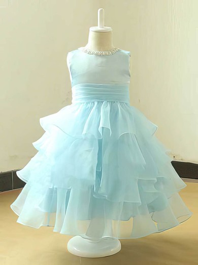 Tea-length Scoop Neck Tiered Light Sky Blue Organza Flower Girl Dress #DOB01031820