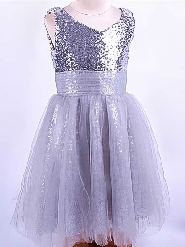 Latest V-neck Silver Tulle Sequined with Ruffles Ankle-length Flower Girl Dress #DOB01031821
