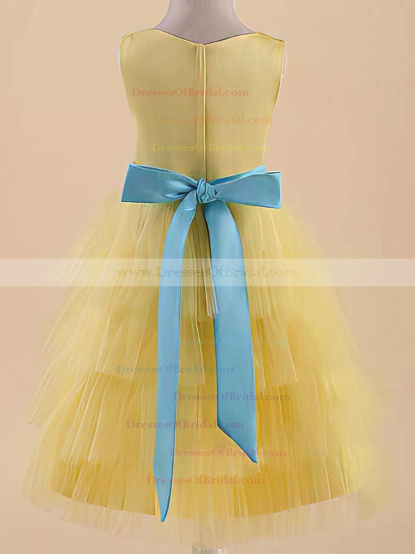 Yellow Satin Tulle Scoop Neck with Sashes/Ribbons A-line Flower Girl Dress #DOB01031822