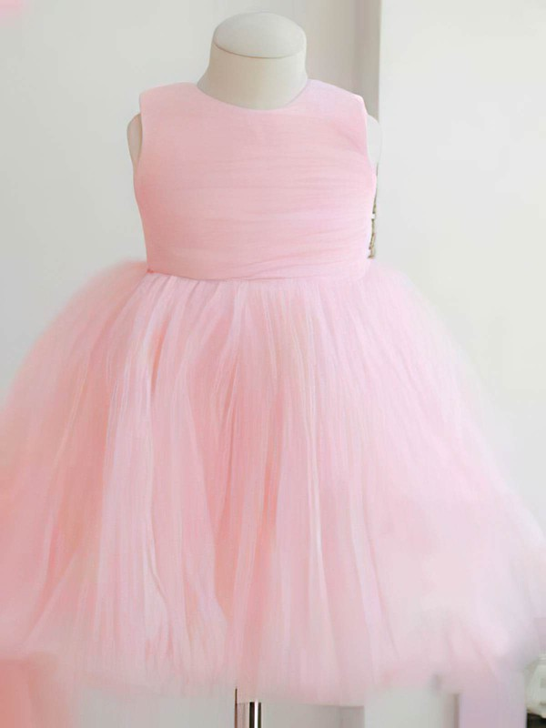 Scoop Neck Ball Gown Ankle-length Tulle Elastic Woven Satin Bow Flower Girl Dresses #DOB01031824