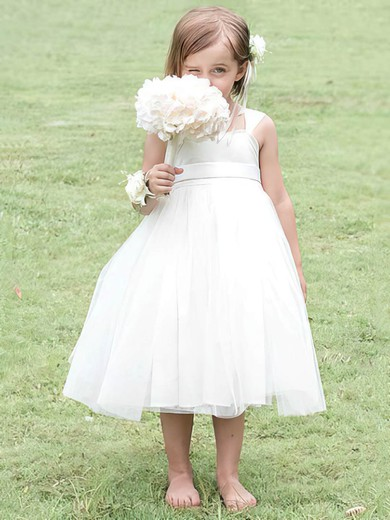 Square Neckline White Satin Tulle with Bow Top Ball Gown Flower Girl Dress #DOB01031825