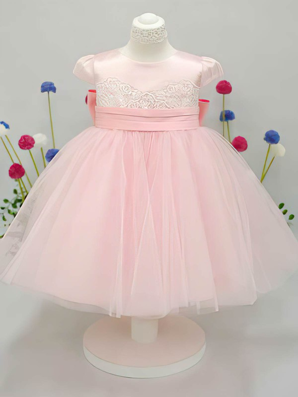 Cap Straps Pink Tulle Elastic Woven Satin Scoop Neck with Bow Ankle-length Flower Girl Dress #DOB01031826
