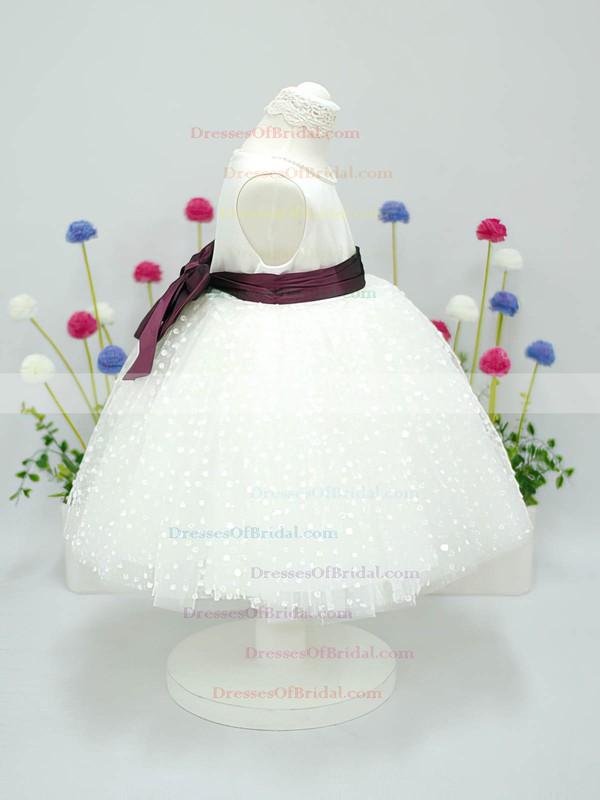 Scoop Neck Ivory Tulle Taffeta Sashes/Ribbons Ball Gown Flower Girl Dress #DOB01031827