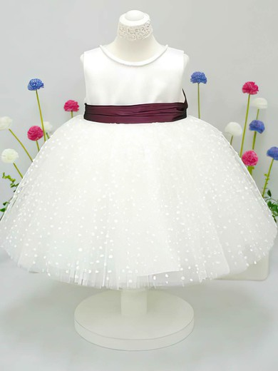 Scoop Neck Ivory Tulle Taffeta Sashes/Ribbons Ball Gown Flower Girl Dress #DOB01031827