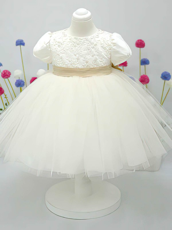 Ankle-length Scoop Neck Ivory Satin Tulle Bow Short Sleeve Flower Girl Dress #DOB01031828