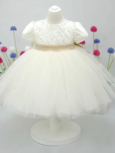 Ankle-length Scoop Neck Ivory Satin Tulle Bow Short Sleeve Flower Girl Dress #DOB01031828