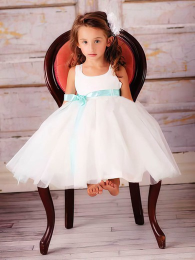 Scoop Neck Ball Gown Tea-length Tulle Elastic Woven Satin Sashes / Ribbons Flower Girl Dresses #DOB01031830