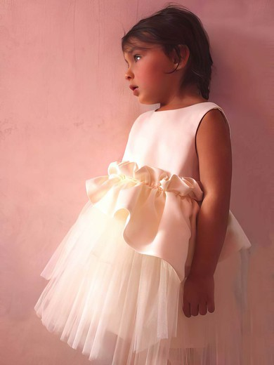 Ivory Satin Tulle with Ruffles Scoop Neck Tea-length Flower Girl Dress #DOB01031832