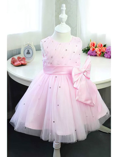 Inexpensive Scoop Neck with Beading Pink Satin Tulle Ball Gown Flower Girl Dress #DOB01031833