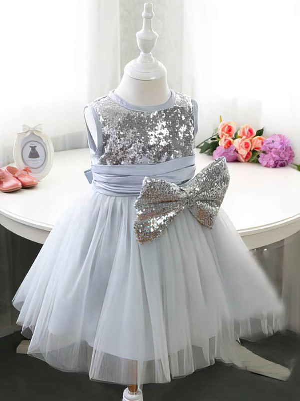 Tea-length Sashes / Ribbons Ball Gown Tulle Sequined Flower Girl Dress #DOB01031834