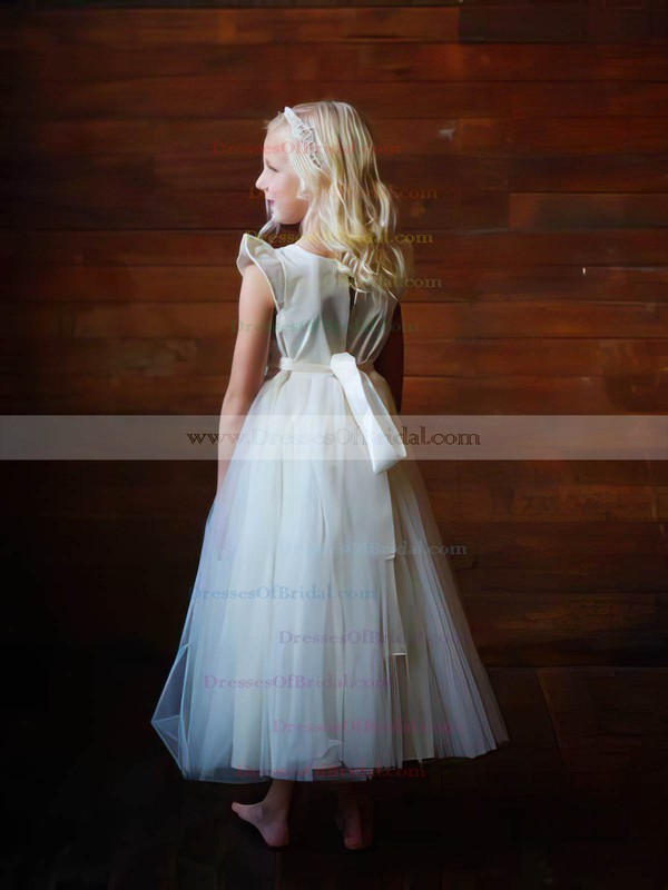 Scoop Neck Cap Straps Ankle-length Ivory Tulle Elastic Woven Satin Flower Girl Dress #DOB01031835