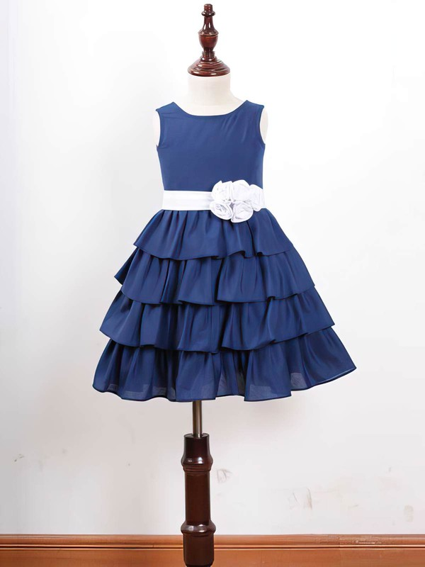 Royal Blue Chiffon Scoop Neck Tiered Sashes/Ribbons Ankle-length Flower Girl Dress #DOB01031836