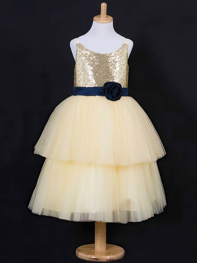 Ball Gown Tiered Light Yellow Tulle Sequined Scoop Neck Flower Girl Dress #DOB01031837