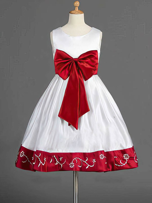 Multi Colours Satin Bow Scoop Neck Nicest Knee-length Flower Girl Dress #DOB01031839