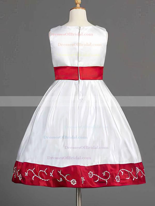 Multi Colours Satin Bow Scoop Neck Nicest Knee-length Flower Girl Dress #DOB01031839