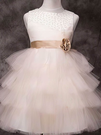 Knee-length Tulle Elastic Woven Satin Sashes/Ribbons Beautiful Ivory Flower Girl Dress #DOB01031840