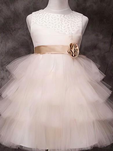 Knee-length Tulle Elastic Woven Satin Sashes/Ribbons Beautiful Ivory Flower Girl Dress #DOB01031840