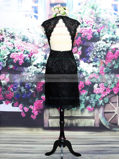 Top V-neck Lace Open Back Black Knee-length Sheath/Column Mother of the Bride Dress #DOB01021573