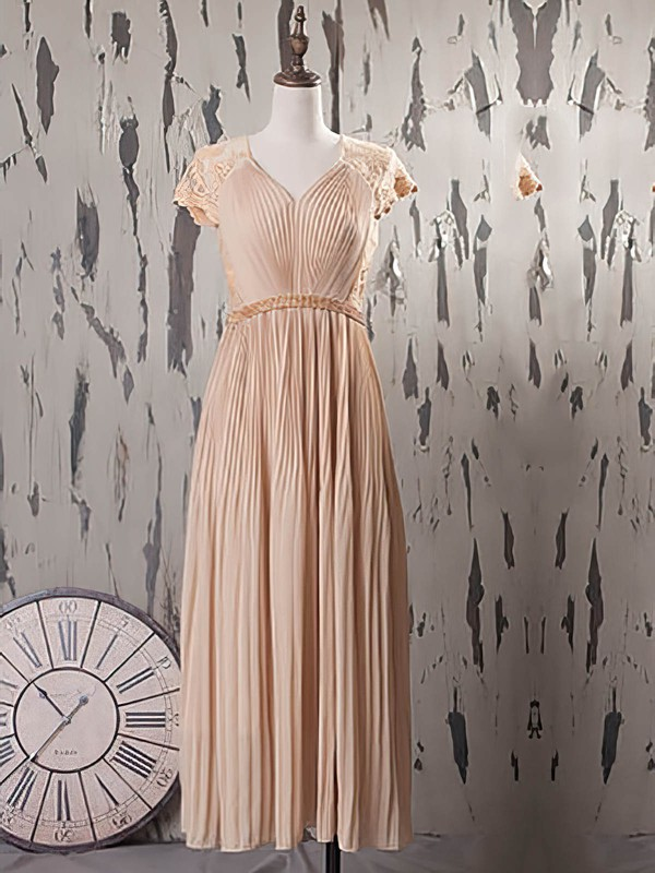 For Cheap Champagne Tea-length Ruffles Lace Chiffon V-neck Mother of the Bride Dress #DOB01021574