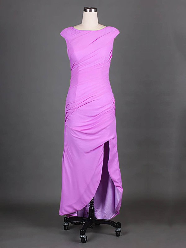 Lavender Cap Straps Scoop Neck Chiffon Nice Split Front Sheath/Column Mother of the Bride Dress #DOB01021575