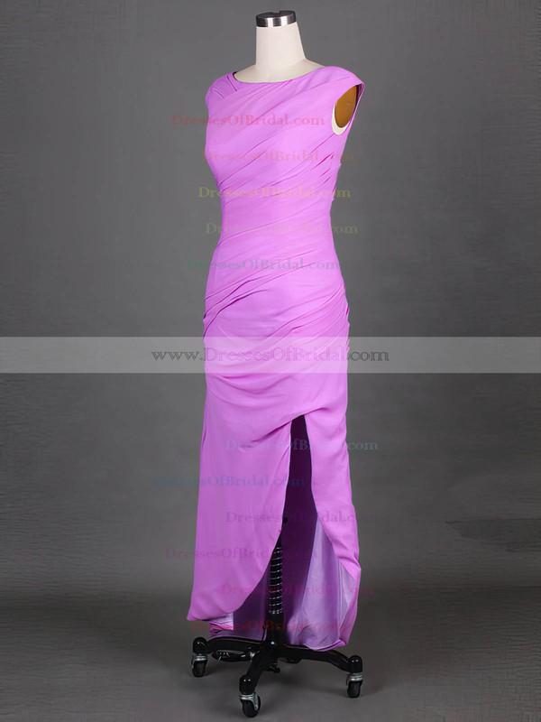 Lavender Cap Straps Scoop Neck Chiffon Nice Split Front Sheath/Column Mother of the Bride Dress #DOB01021575