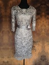 Ankle-length Gray Lace with Sashes/Ribbons Scoop Neck 1/2 Sleeve Mother of the Bride Dress #DOB01021576