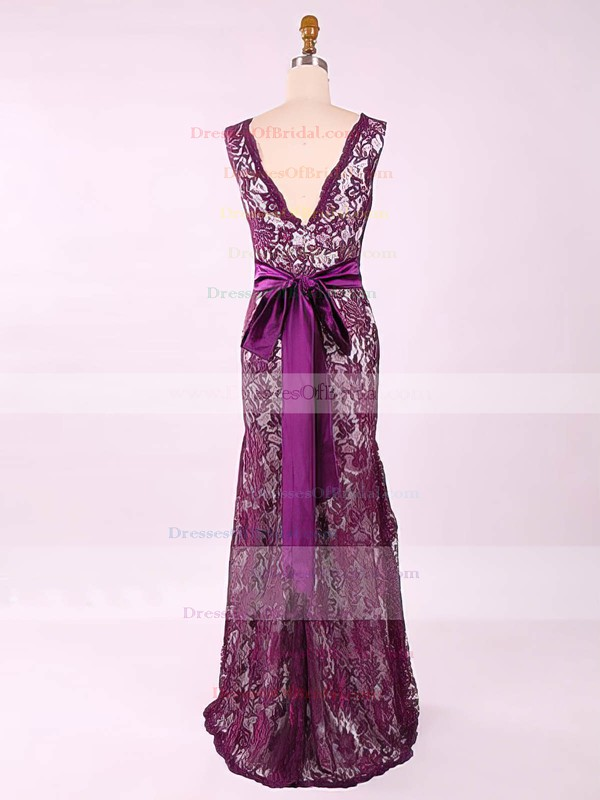 V-neck Lace with Sashes/Ribbons Sheath/Column Latest Mother of the Bride Dress #DOB01021577