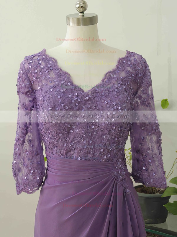 A-line 1/2 Sleeve Chiffon Appliques Lace V-neck Interesting Mother of the Bride Dress #DOB01021578