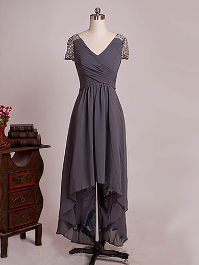 Short Sleeve High Low Chiffon with Ruffles A-line V-neck Mother of the Bride Dresses #DOB01021579