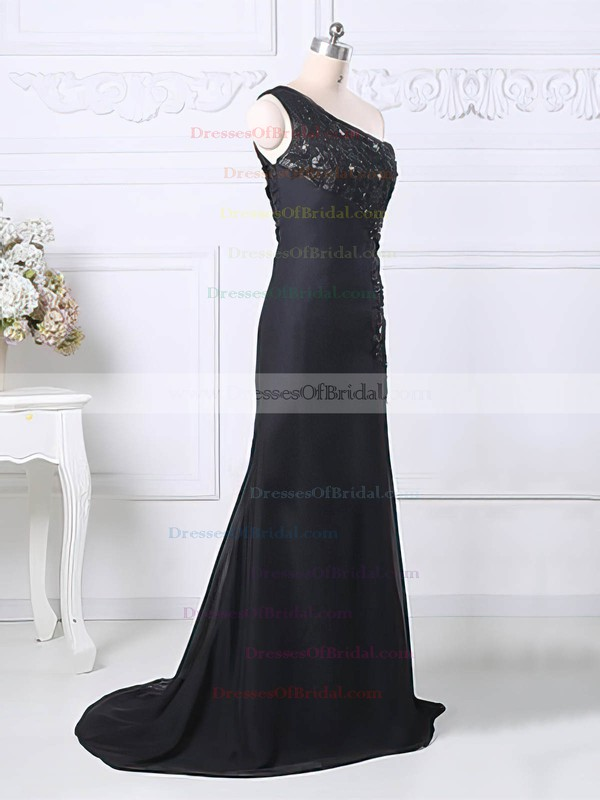 Black Split Front One Shoulder Chiffon Tulle Appliques Lace A-line Mother of the Bride Dress #DOB01021580