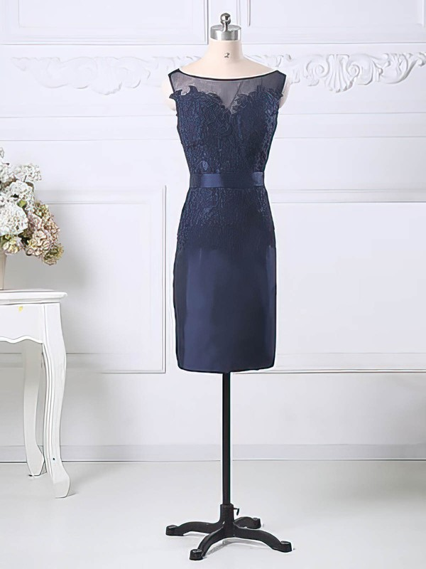 Great Dark Navy Scoop Neck Tulle Taffeta Appliques Lace Sheath/Column Mother of the Bride Dress #DOB01021581