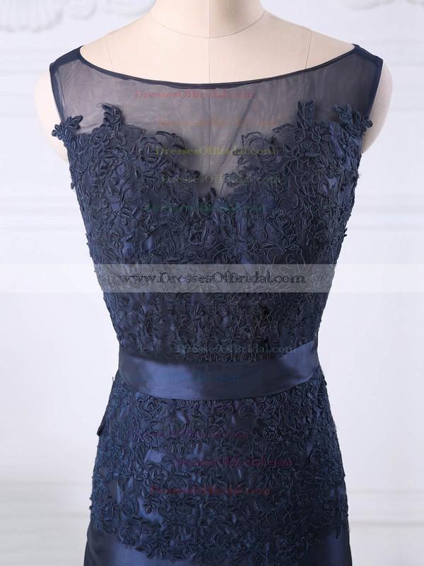 Great Dark Navy Scoop Neck Tulle Taffeta Appliques Lace Sheath/Column Mother of the Bride Dress #DOB01021581