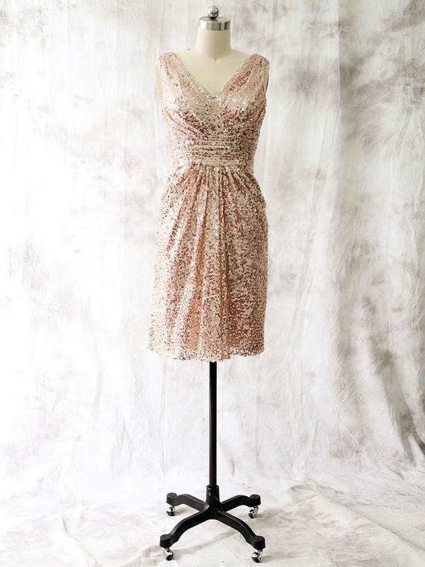 Affordable Champagne Sequined Ruffles Short/Mini V-neck Mother of the Bride Dresses #DOB01021582
