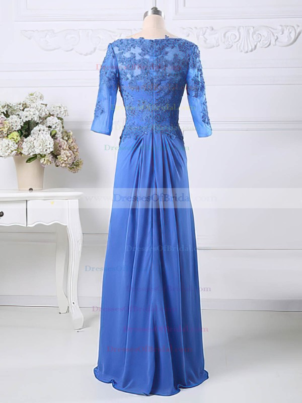 Floor-length 1/2 Sleeve Chiffon Tulle Appliques Lace Scoop Neck Mother of the Bride Dresses #DOB01021583