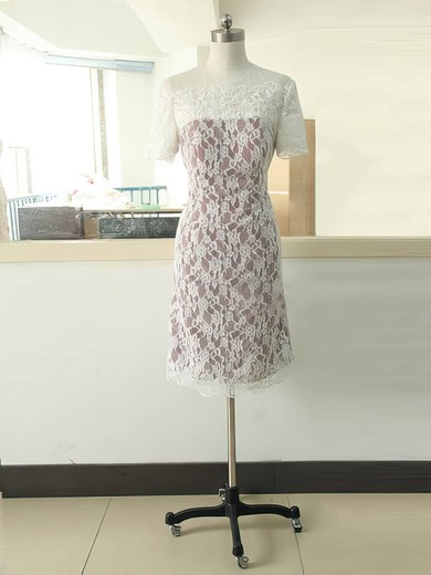 Inexpensive Short Sleeve Scoop Neck Multi Colours Lace Sheath/Column Mother of the Bride Dress #DOB01021584