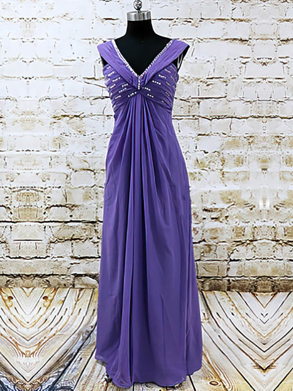 V-neck Straps Chiffon with Sequins Nicest Floor-length Mother of the Bride Dress #DOB01021585