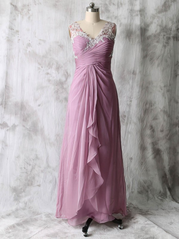 V-neck Chiffon Tulle with Appliques A-line Beautiful Mother of the Bride Dresses #DOB01021586