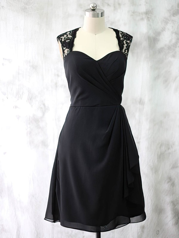 Best Chiffon Lace Ruffles Short/Mini Black Sweetheart Mother of the Bride Dresses #DOB01021587