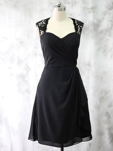 Best Chiffon Lace Ruffles Short/Mini Black Sweetheart Mother of the Bride Dresses #DOB01021587