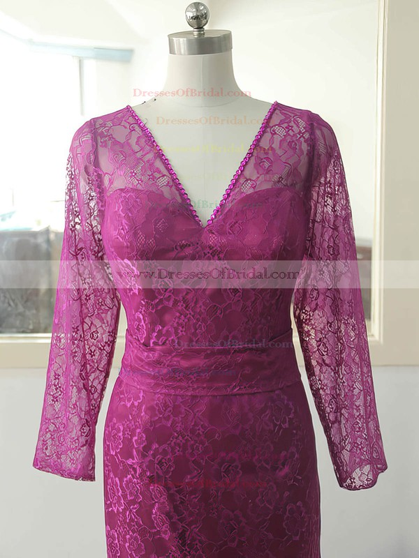 Long Sleeve Casual V-neck Lace Sequins Covered Buttons Sweep Train Mother of the Bride Dresses #DOB01021588