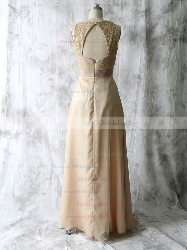 Ladies Champagne A-line Chiffon Lace Pleats V-neck Mother of the Bride Dress #DOB01021589